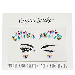 Nova Chegada 3D Rhinestone Face Jóias Corpo Vara No Cristal Tatuagem Mamilo Corpo de Cristal Gem Pedras Bindi Adesivos Adhesive Face Olho Gems