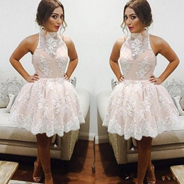 Black Knee High Cocktail Dress NZ - 2018 Lace Cocktail Party Dresses Sexy High Neck Knee Length A-line Short Prom Gown Graduation Homecoming Dress