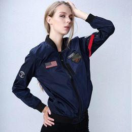 Ladies Pilot Jacket NZ - Bomber Jacket Women Plus Size 4XL 2018 New Pilot Jacket with Patches Woman Ladies Thin Bomber Ma1 Jacket Women ,DA319