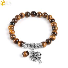 Wholesale CSJA Natural Tiger Eye Lucky Gemstone Beaded Tree of Life Strand Bracelets Rosary Reiki Healing Energy Mala Yoga Beads Men Jewelry E725