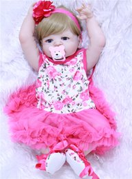 "Discount bebe hair Wholesale-22"" s full body silicone reborn babies pink dress blond hair realistic girl bebe alive reborn bonecas kid"