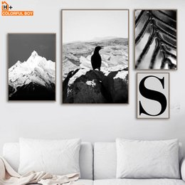 $enCountryForm.capitalKeyWord NZ - COLORFULBOY Bird Snow Hill Nordic Posters And Prints Wall Art Canvas Painting Black White Wall Pictures For Living Room Decor