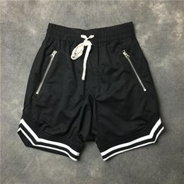 $enCountryForm.capitalKeyWord NZ - 2018 FOG Justin Bieber Top quality black green red Blue Men shorts Hip hop Striped zipper drawstring sweat Casual shorts S-XXL