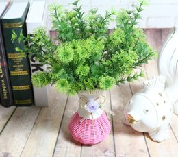 Discount green orange plant - 6pcs Artificial Pine Branch Greenery For Plant Wall Background Wedding Party Home Hotal Office Bar Decorative
