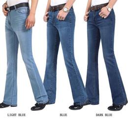 b5b82d2957 Hombres libres del envío otoño e invierno de negocios Casual Boot Cut Jeans  Cintura media masculina bengalas pantalones de campana semi-acampanados  27-34
