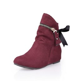 e6c2d876fb90 2018 autumn and winter new suede wedge female boots Korean version of Japanese  shoes fashion wild zipper with red 1006