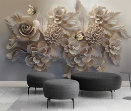 EldEr flowEr online shopping - Customized Retail Beautiful Three Dimensional Relief D Flowers Butterfly TV Background Wall Painting Flowers And Colorful Butterflies Fflyi