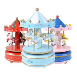 Discount wood castle - Castle in the Sky Merry-Go-Round Wooden Music Box Carousel horse Music Box Christmas Wedding Birthday Gift 12 Colors C42
