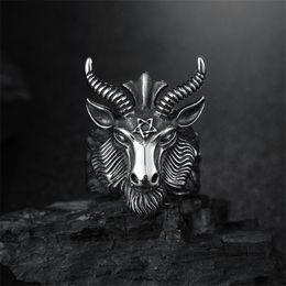 Punk Rings Australia - Big Sheep Goat Horn Head Ring Satan Worship Baphomet Aries Zodiac Wicca Star For Men Unique Biker Punk Animal Jewelry
