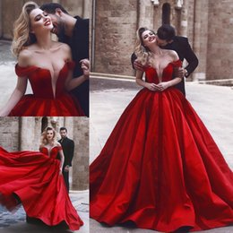 Wholesale New Sheer Net Off Shoulder V Neck Deep Sexy Formal Evening Gowns Arabic Burgundy Long Ball Gown Prom Dress BA9559