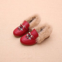 children shoes velvet Canada - Children faux fur shoes winter girls bees embroidery princess footwear fashion new kids velvet PU leather princess shoes A01140
