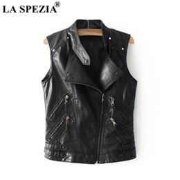 2e124601689 LA SPEZIA Punk Gilet Femmes Noir Biker Gilet Femme Zipper Poches Faux Cuir  Moto Automne Classique Sans Manches Veste