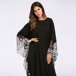 ccd2578fb4 Fashion Adult lace embroidered Robe Dress Muslim Turkish Dubai Abaya  Musulman Arab Worship Service VKDR1140