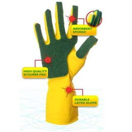 Discount rubber gloves dishwashing - Emulsion Scrubbing Gloves Compound Sponge Cleaning Dishwashing Gloves Scouring Pads Home Kitchen Durable Magic Sponge Gl