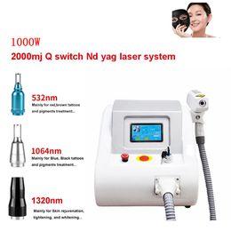 Vente en gros Nouveau portable 2000MJ 532nm 1064nm Pigments détatouage 1320 nm Q Commutateur ND YAG LASER Machine Salon de beauté Soins de la peau