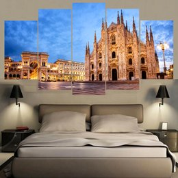 Art Church Australia - Wall Art Canvas Painting Posters 5 Panel London Famous Church Landscape Pictures For Living Room Home Decoration Modular Pictures