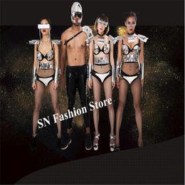 930f961f26 EC69 Singer silver mirror bodysuit dj stage ballroom dance costumes robot  men suit armor dress wears clothe bar catwalk show bra model cloth