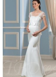 $enCountryForm.capitalKeyWord Australia - Lace V-Neck Cap Sleeves Mermaid Pregnant Maternity Wedding Dress
