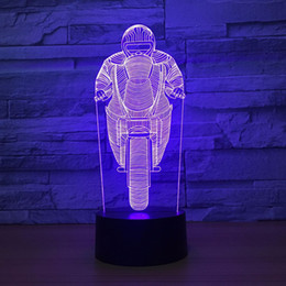 angel cartoon UK - Motor Rider 3D Optical Illusion Lamp Night Light DC 5V USB Powered 5th Battery Wholesale Dropshipping Free Shipping