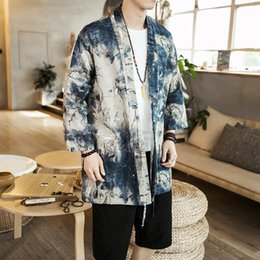 Chinese Casual Jacket NZ - 2018 Spring Summer Men's Chinese Style Simple Personality Long Sleeve Casual Kimono Jacket Fashion Youth Temperament