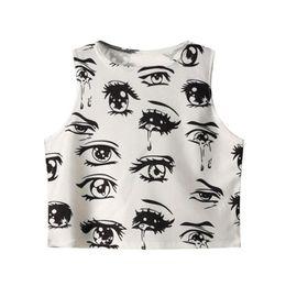 0ff13fa8afe Wholesale-2016 New Women Summer Tight Elastic Crop Tops Fashion Sleeveless T -shirts Women Sexy Crop Tops Eyes Print Cropped Tees Shirt