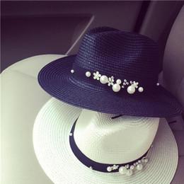 002f7aac4e1 Spring Hats For Women Flower Pearl Rivet Hat Beads Wide Brimmed Jazz Panama  Hat Chapeu Feminino Sun Visor Beach Cappello