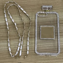 $enCountryForm.capitalKeyWord Canada - new perfume bottle With pearl Chain phone Case For iPhone 6 6S 7 8 Plus Handbag with lanyard Rope DIY Soft Phone Case