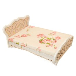 Chinese  1 12 Dollhouse Miniature Furniture bedroom carved bed princess bed Pink manufacturers