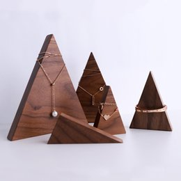 Wholesale High quality wooden jewelry display black walnut wood nature hand custom made display stand for earring necklace