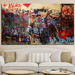 pop canvas prints Canada - Woman Graffiti On the Wall Handpainted & HD Print Pop Abstract Art oil painting fHome Wall Decor High Quality Thick Canvas Multi Sizes g47