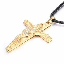 $enCountryForm.capitalKeyWord Australia - Skqir Guitar Cross Pendant Necklaces Men Jewelry Stainless Steel White Stone Leather Chain Christian Crucifix Johnny Hallyday
