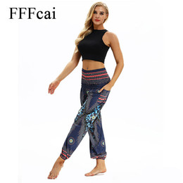$enCountryForm.capitalKeyWord NZ - FFFcai Vintage Women Yoga Leggings Lounge Pant Bloomers Thai Style Wide Leg Loose Pants Women Beach Wear Fitness 3D Funny Design