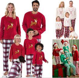 d8b75cd0e4 Xmas Kids Adult Family Matching Christmas Deer Elk Plaid Striped Pajamas  2pcs Set Santa Claus Sleepwear Nightwear bedgown sleepcoat nighty
