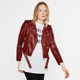 Discount ladies pink motorcycle jackets - Slim Women PU Coat Faux Leather Fall Winter Female Crop Jacket Black Motorcycle Lady Out Wear