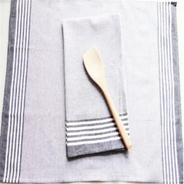 $enCountryForm.capitalKeyWord Australia - 2pcs 50x70cm black and white striped napkin cloth, tea towel pure cotton yarn dyed striped napkin kitchen towel small tablecloth