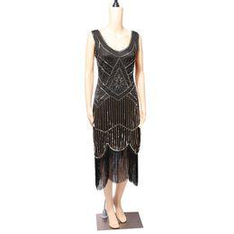 Discount black dinner gowns - Vintage Women Dresses 2018 Clothes Sequins Costume Fringe Dinner Party Formal Gowns Ballroom Dresses