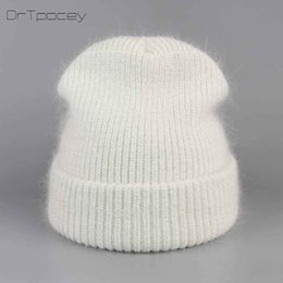 AngorA hAts online shopping - women s winter hats for autumn knitted angora rabbit hair beanies fashion hats new arrival casual caps good quality female hat