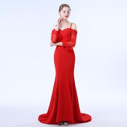 129c562e0db1 Evening Dress 2017 Wine Red Satin Spaghetti Long Sleeve Mermaid Floor  Length Backless Zipper Sheath Lllusion Embroidery Prom Dress