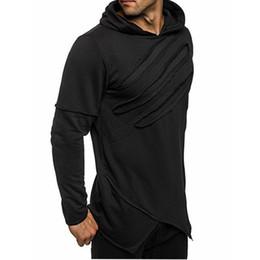 Wholesale boys zipped hoodies for sale – custom New Autumn New Fashion Men s Long Black Hoodies Sweatshirts Pure Color Zip Irregular Hip Hop High Street Wear Boys Hoodie Hot Sale
