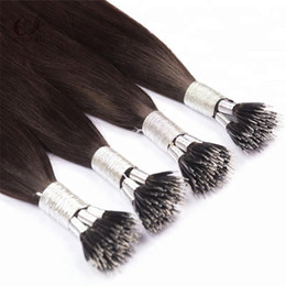Stranded Hair Wholesale Australia - Double Drawn Thick End Nano Tip Hairs Straight Wave Brazilian Remy Human Hair Extensions 1g strand 100strands lot Free Shipping