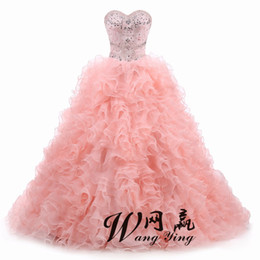 $enCountryForm.capitalKeyWord UK - Real Photo Quinceanera Dresses Ball Gown Sweetheart Organza Crystals Beaded Ruffles Rose PinkDetachable Sweet 16 Pageant Dresses