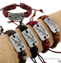Новые любители браслет очарование двойное сердце любовь кожаный браслет мода дешевые пара ювелирные изделия для мужчин и женщин