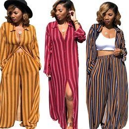 065736c7f0 Discount vertical striped shirt women - WOMEN Vertical Striped Casual 2  Piece Set Spring Turn Down