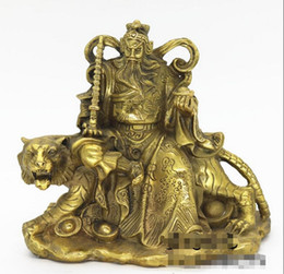 Chinese  Wu Guoshen Zhao Gongming riding tiger bronze statues, copper wealth gods lucky home crafts ornaments manufacturers