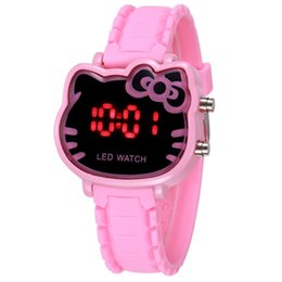 Wholesale 7Colors Cute Hello Kitty Cat Children Digital Wristwatches Rubber Strap LED Wrist Watches Gift for Boy Girl Kid Relogio Infantil
