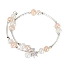 Charms Wire Wrapping Australia - Sweet 6-7mm Freshwater Pearls Wire Wrap Bracelet Adjustable Silver Plated Jewelry For Women
