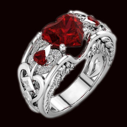 Band ruBies ring online shopping - designer jewelry rings for women wedding rings CZ heart ruby rings band to bridal hot fashion free of shipping