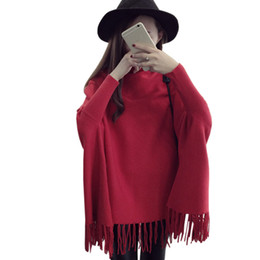 $enCountryForm.capitalKeyWord Canada - Sweater women 2016 high collar fringed cloak bat sleeve long shirt spring autumn Korean sweaters shawl clothing vestidos MMY234