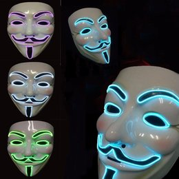 V Vendetta Cosplay UK - The V for Vendetta Party Cosplay Masque LED Neon Mask Custom Cosplay EL Wire flashing V PARTY Mask for Halloween Xmas for Party Decoration