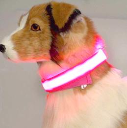 Discount glow dark dog collar wholesale - HOT Night Safety Nylon LED Pet Dog Collars Flashing Glow In The Dark Dog Leash Dogs Luminous Fluorescent Collars Pet Sup
